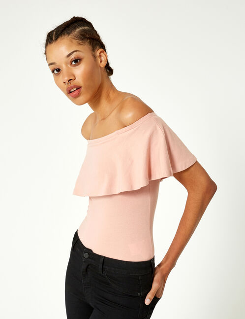 Light pink bodysuit with frill detail