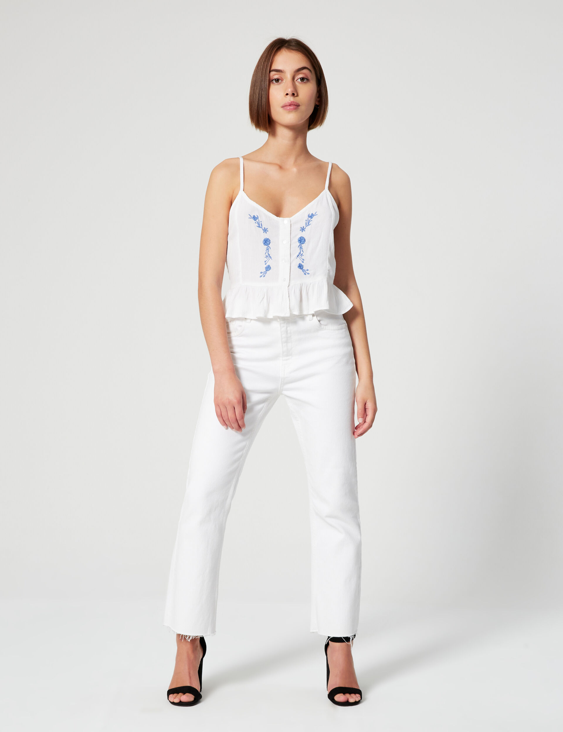 Embroidered cropped vest top
