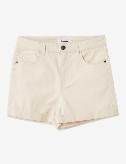 Light pink roll-up shorts
