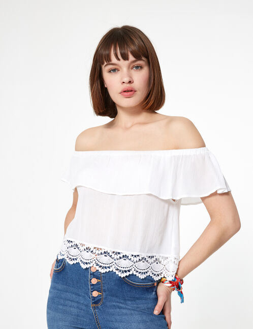 Cream blouse with frill detail