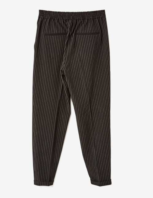 Black and cream pinstripe tailored trousers