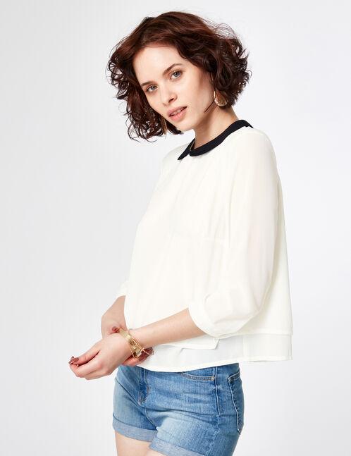 Cream Peter Pan collar blouse