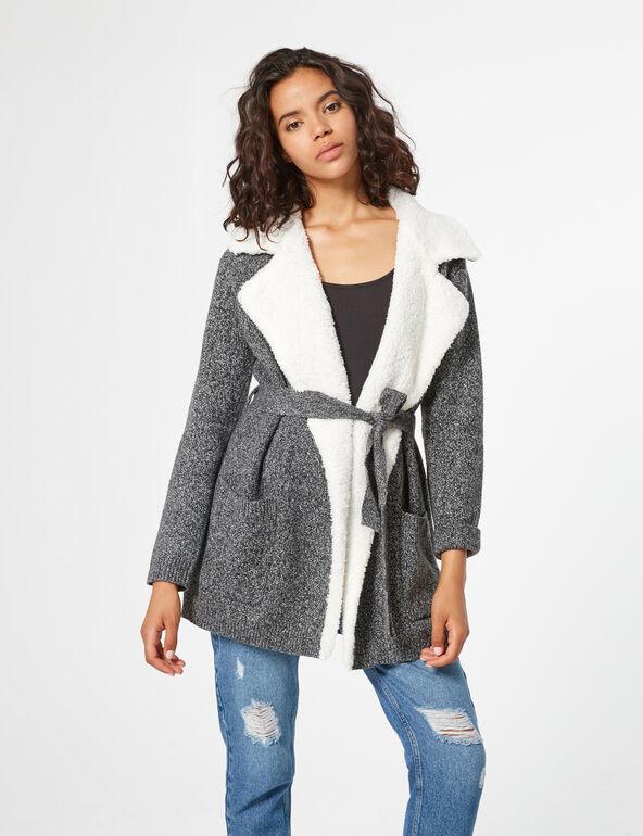 Mixed fabric long cardigan