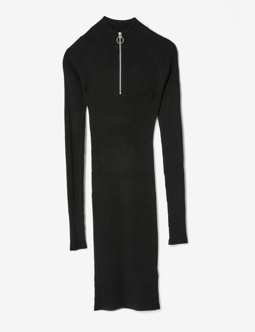 robe pull zippée noire