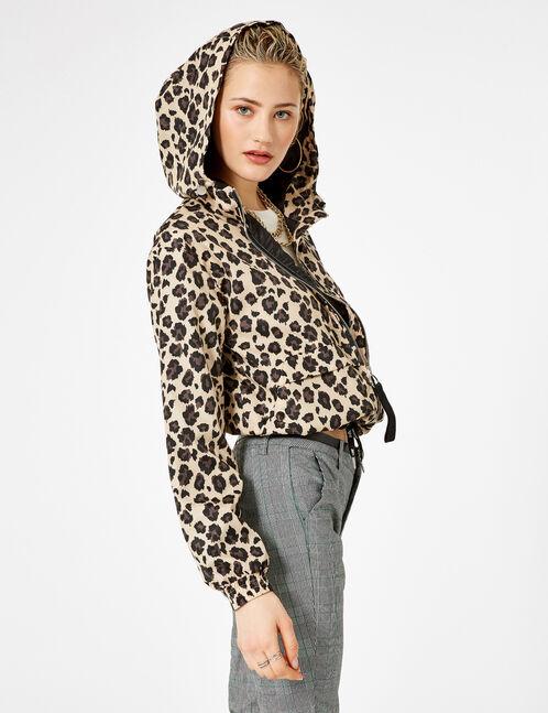 veste légère léopard beige et noir