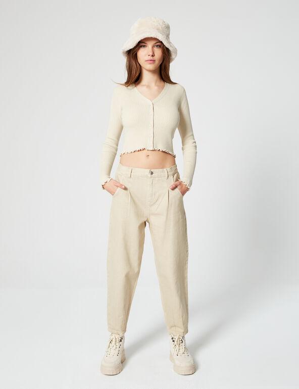 Ribbed low-cut-neck jumper