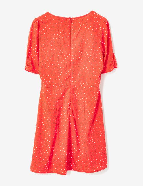 Red and white flared polka dot dress