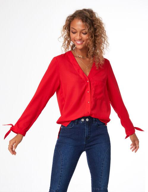 chemise col v rouge