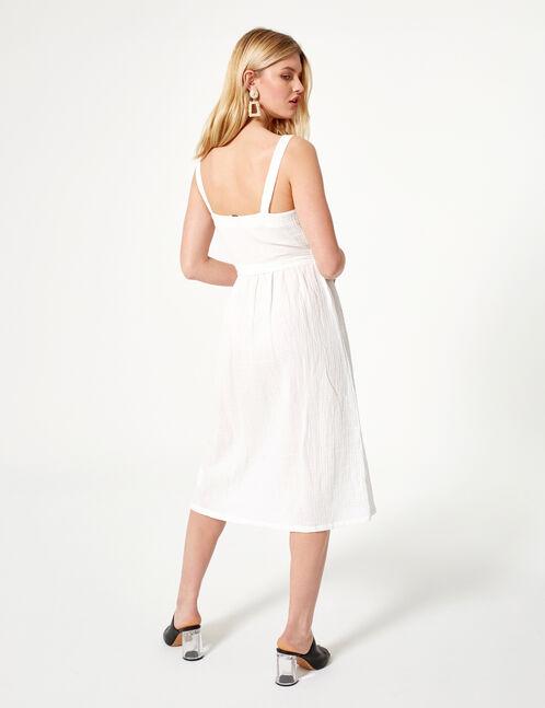 Cream button-front maxi dress