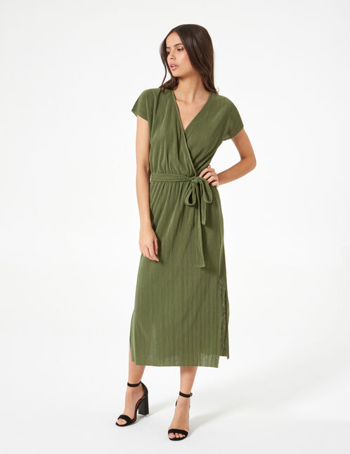robe longue plissée kaki