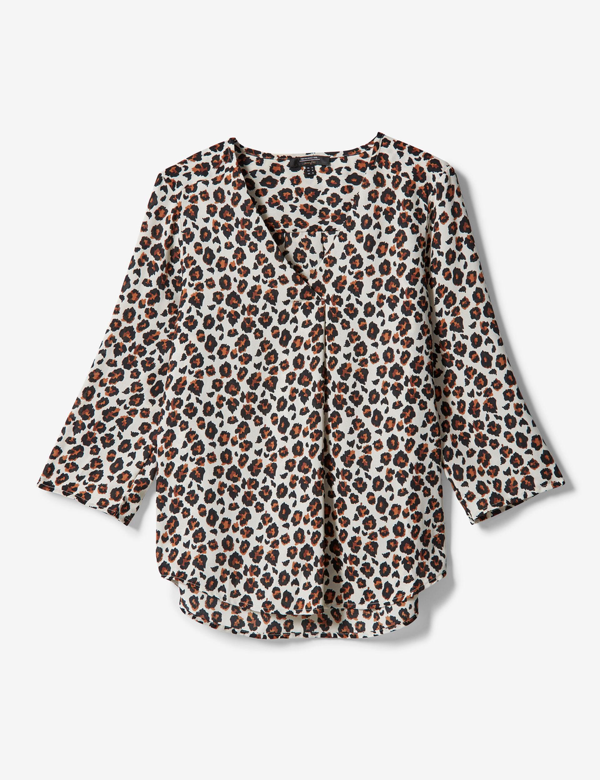 Blouse léopard écrue, noire et marron
