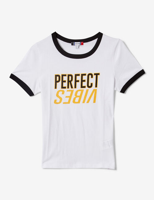 "White, black and ochre ""perfect vibes"" T-shirt"