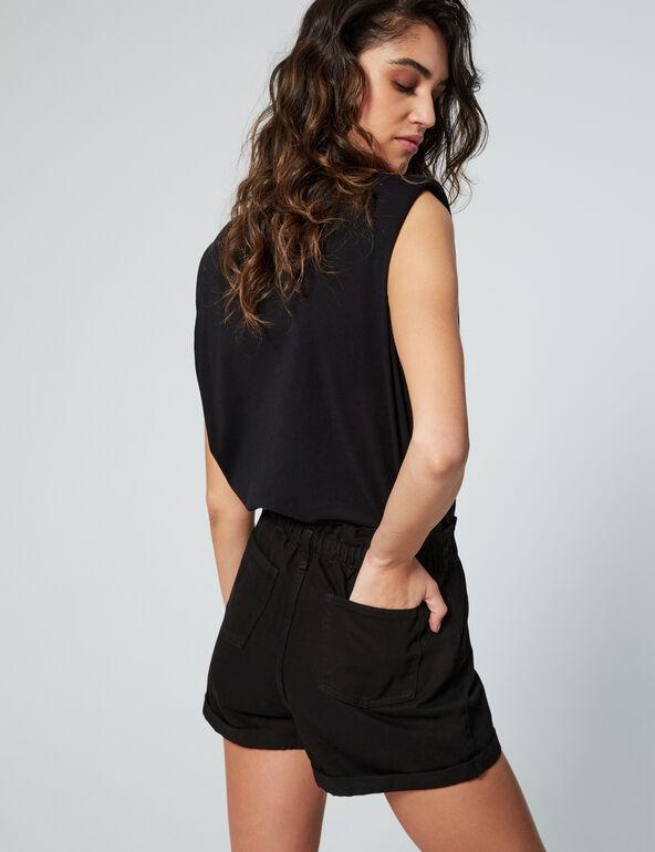 Denim shorts with elasticated waist
