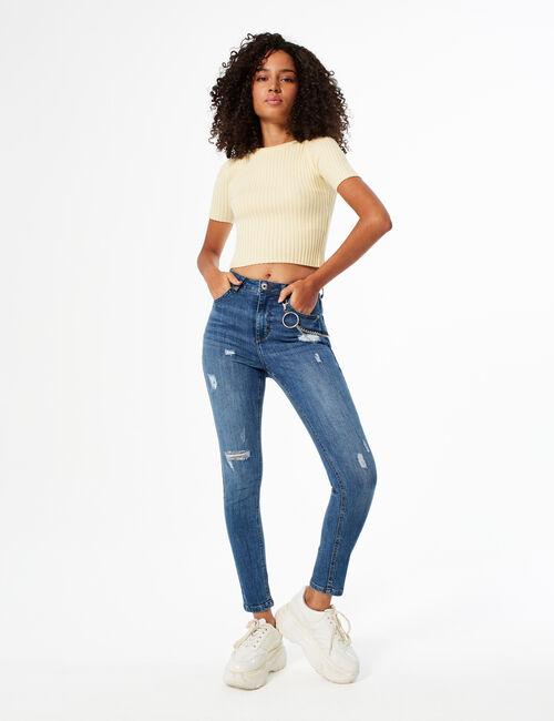 Jean skinny avec chaîne