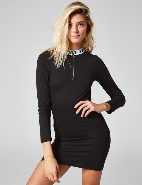 "Black ""trendy"" dress with zip detail"