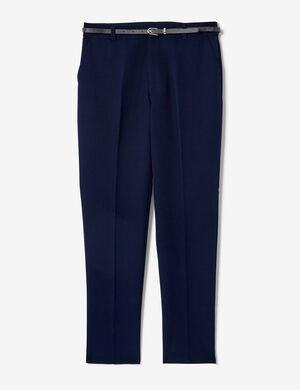 Product Pantalon ville femme, bleu marine, ceinture noire, 2 poches, fermeture zippée avec crochet. Photos retouchéesMarque Jennyfer Catégorie pantalons