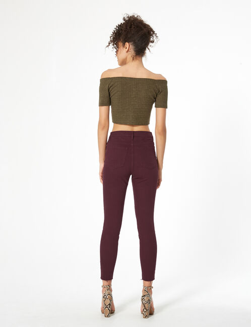 plum high-waisted jeggings