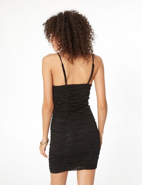 robe dentelle avec fronces noire