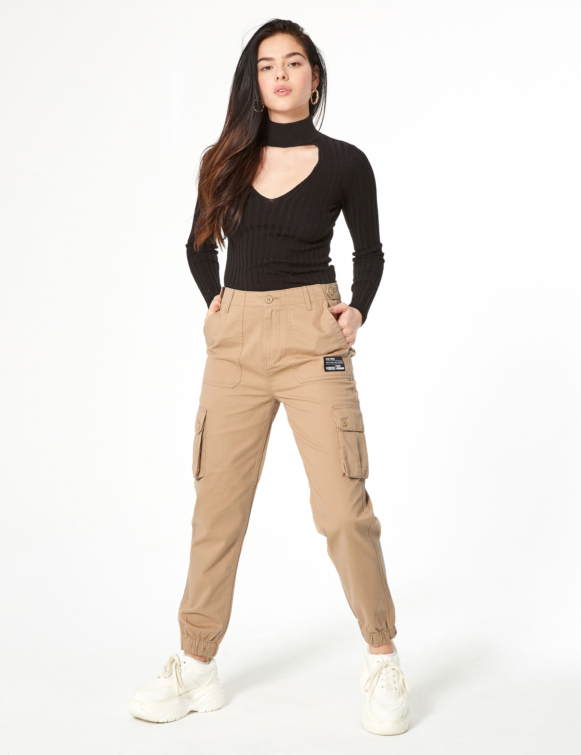 Beige cargo style pants