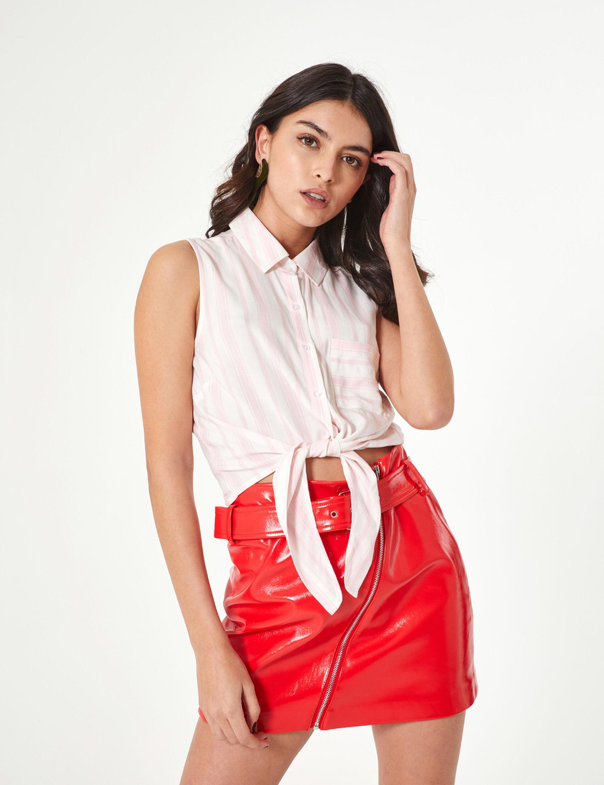 Chemise sans manches rayée écrue et rose clair