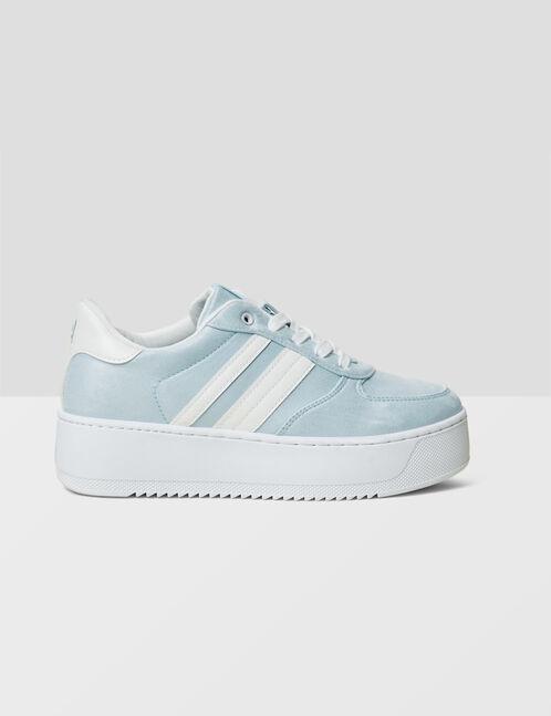 baskets compensées bleu clair