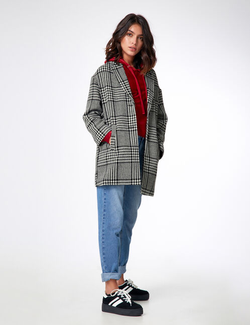 Black and white large houndstooth print coat