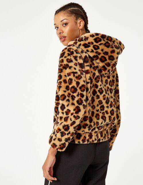 sweat léopard zippé beige et noir
