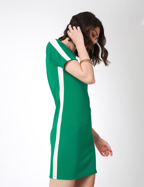 Green dress with side stripe detail