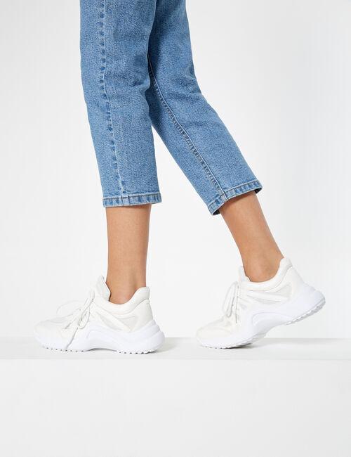 Baskets bi-matière blanches