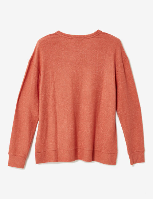 Coral long-sleeved T-shirt
