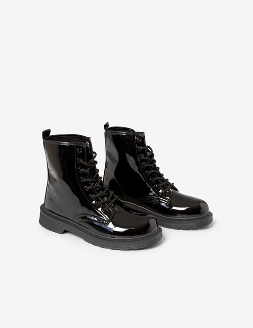 Imitation patent leather lace-up ankle boots