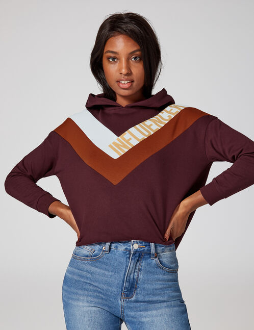 "Plum, camel, cream and beige ""influencer"" hoodie with chevron detail"