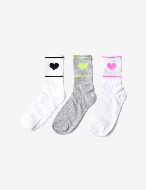 chaussettes coeurs mi-hautes blanches et grises
