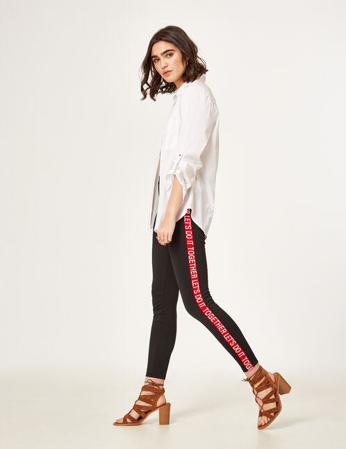Black leggings with text design detail