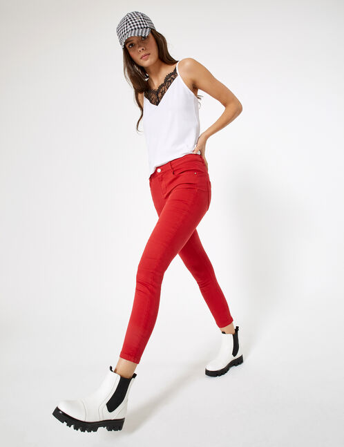 Red high-waisted skinny trousers