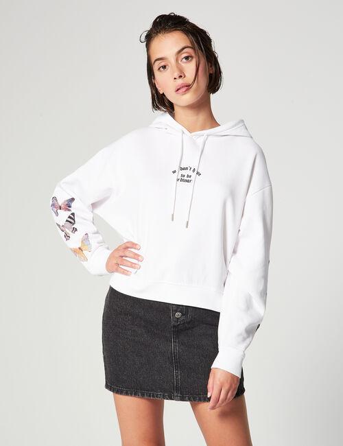 Cropped sweatshirt with slogan