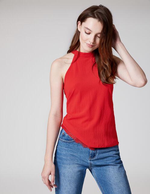 blouse finitions dentelle rouge