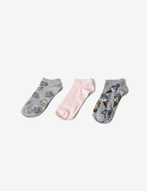 chaussettes fantaisies grises et rose clair