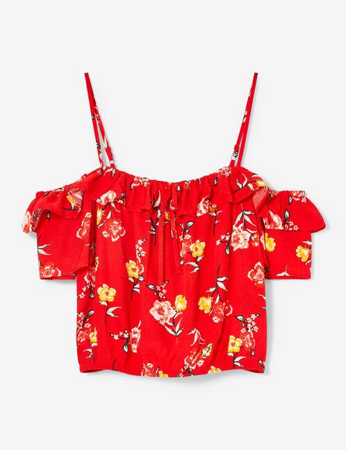 blouse fleurie à volants rouge