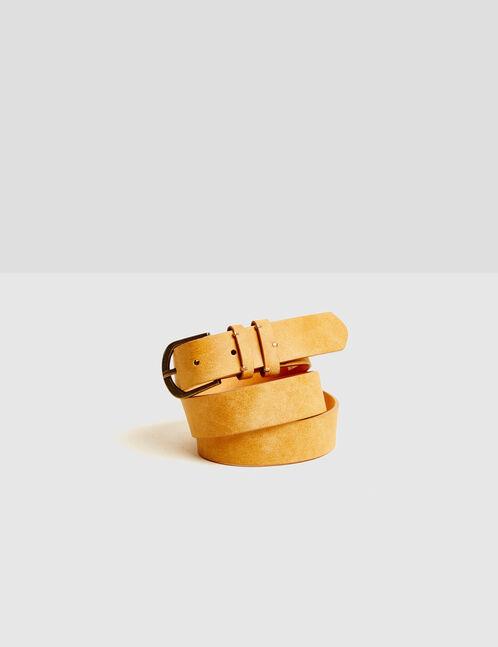 Beige suede-effect belt