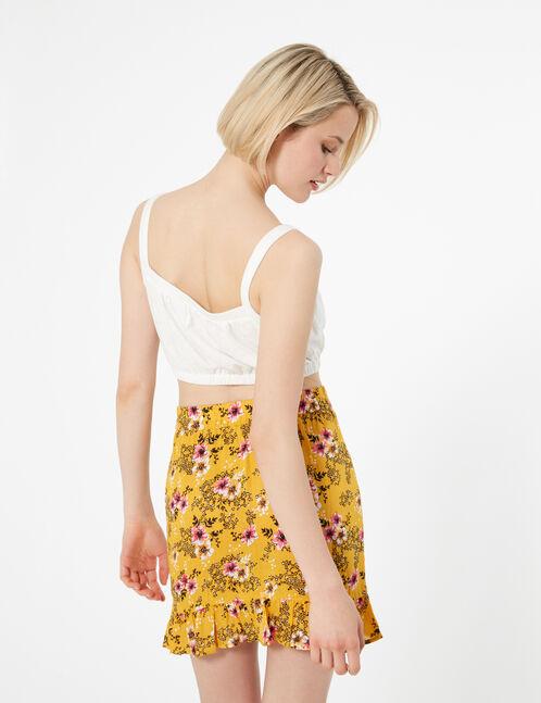 jupe fleurie à volants ocre