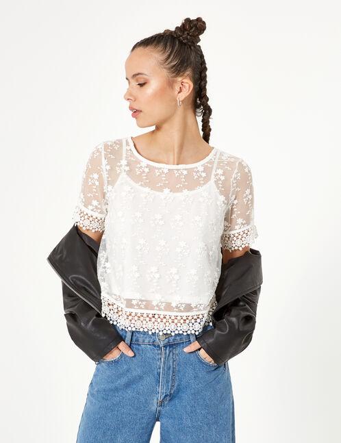 blouse avec superposition et dentelle écru