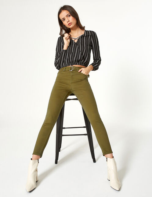 pantalon avec ceinture kaki