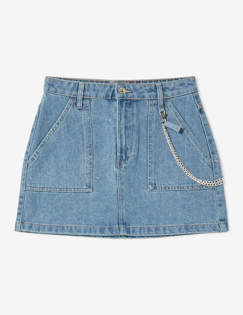 Jupe en jean avec chaîne denim blue