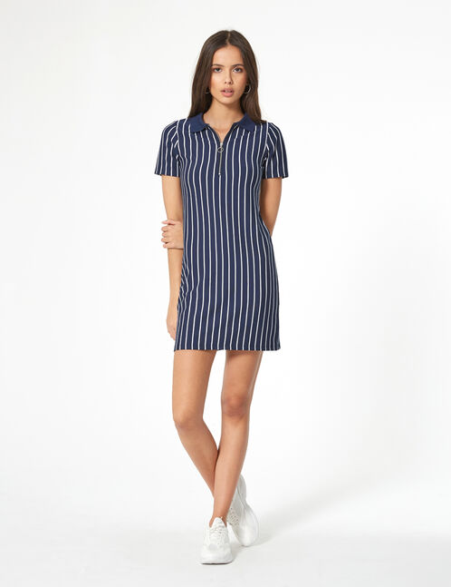 robe polo rayée bleu marine et blanche