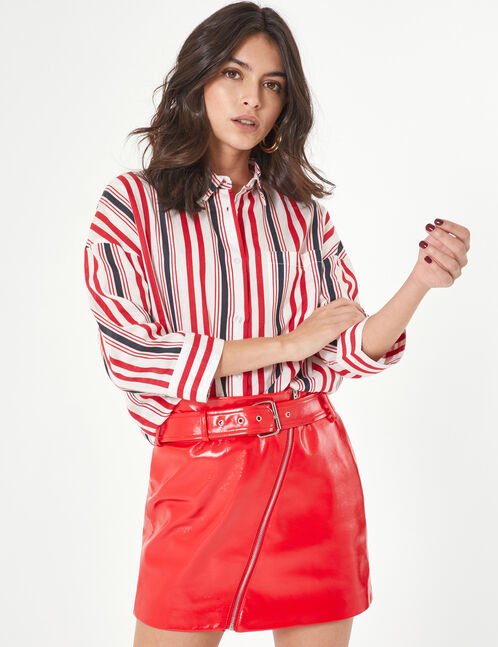 Red, navy blue and white striped shirt