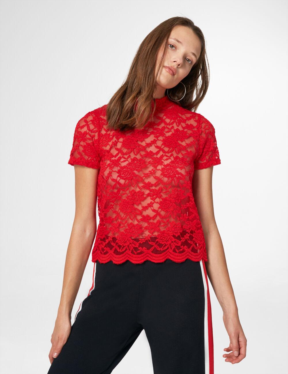 tee shirt en dentelle rouge femme jennyfer. Black Bedroom Furniture Sets. Home Design Ideas