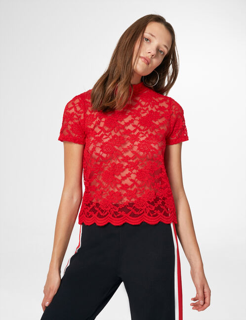 Red lace T-shirt