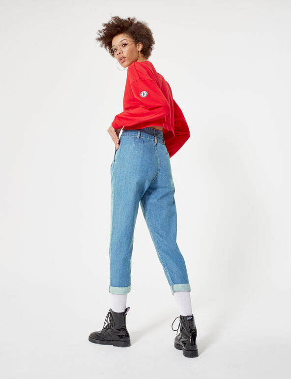 Medium blue paperbag jeans