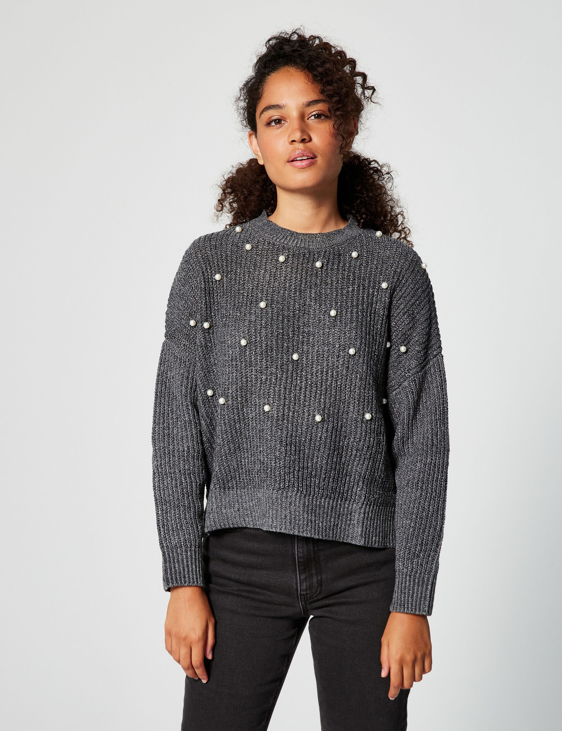 Loose-fit beaded jumper